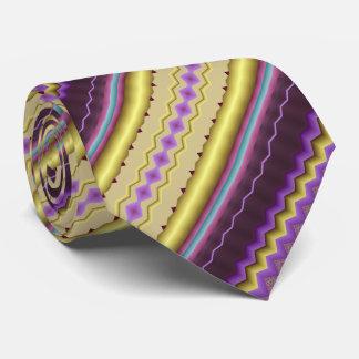Lila und Golddiagonales Fraktal-Muster Bedruckte Krawatte