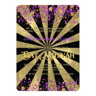 Lila und Goldfolien-Schläger Mitzvah 14 X 19,5 Cm Einladungskarte