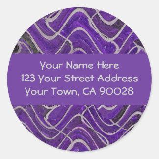 lila und graue Adressen-Etiketten Runder Aufkleber