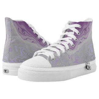 lila und graue Farbenmischung Hoch-geschnittene Sneaker