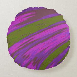 Lila und grüne FarbSwish abstrakt Rundes Kissen
