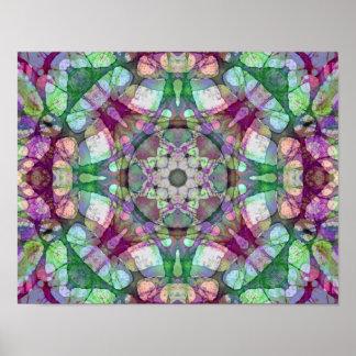 Lila und grüne Flieder träumt Mandala-Kaleidoskop Poster