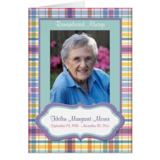 Lila und grüne karierte Erinnerungskarte mit Foto Karte