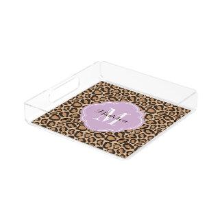 Lila und Leopard-Druck-Gewohnheits-Monogramm Acryl Tablett