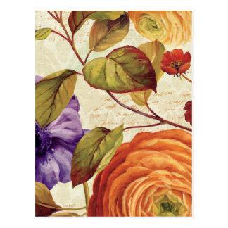 Lila und orange Blumen Postkarten