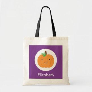 Lila und orange Kürbis-Halloween-Leckerei-Tasche Tragetasche