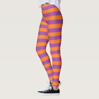 Lila und orange Streifen Leggings