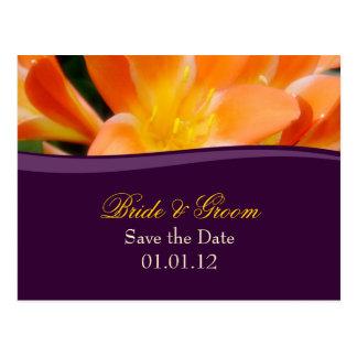 Lila und Orangen-Save the Date Postkarte