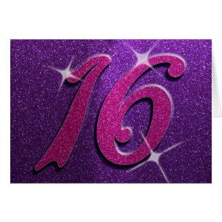 Lila und rosa 16. Geburtstag-Geburtstags-Karte Karte