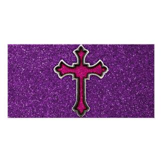 Lila und rosa Glitter-Kreuz Fotokartenvorlage