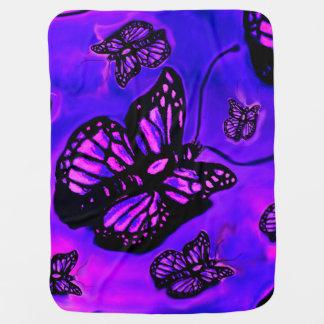 Lila und rosa Schmetterlingsbabydecke Kinderwagendecke