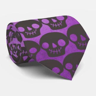 Lila und schwarze glückliche Schädel Personalisierte Krawatten