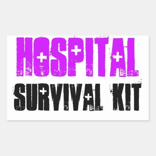 Lila und schwarze Krankenhaus-Überlebensausrüstung Rechtecksticker