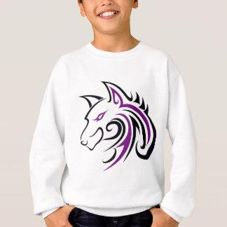 Lila und schwarze Wolf-Kopf-Kontur Sweatshirt