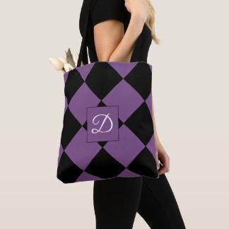 Lila und schwarzer Harlekin-Diamant-Entwurf Tasche