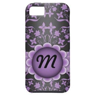 Lila und schwarzes Damast-Monogramm iPhone 5 Schutzhüllen