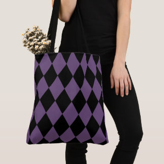 Lila und schwarzes Harlekin-Muster Tasche
