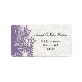 Lila und weiße Blumenfrühlings-Hochzeit Adress Aufkleber