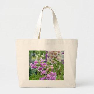 Lila und weiße Fingerhut-Blumen Jumbo Stoffbeutel