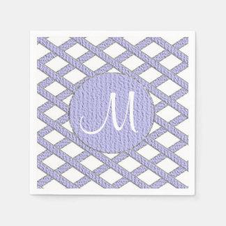 Lila und weiße kreuzweise Monogrammservietten Papierserviette