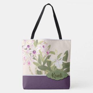 Lila und weiße Orchidee personalisiert Tasche