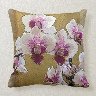 Lila und weiße Orchideen-trockene Bürste Kissen