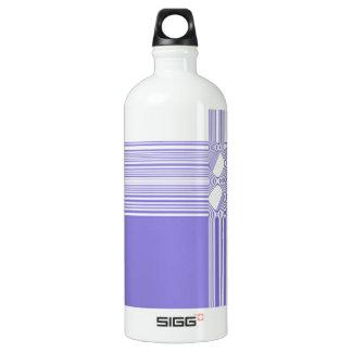 Lila und weißes abstraktes Muster Wasserflasche