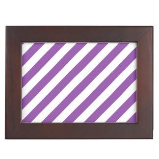 Lila und weißes diagonales Streifen-Muster Erinnerungsdose