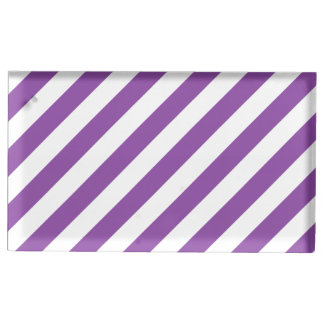 Lila und weißes diagonales Streifen-Muster Tischkartenhalter
