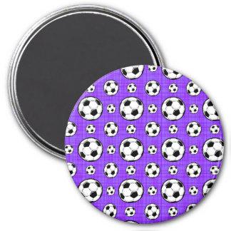 Lila und weißes Fußball-Ball-Muster Runder Magnet 7,6 Cm