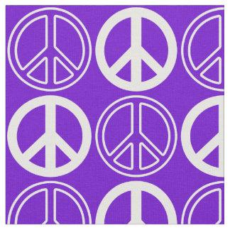 Lila und weißes Retro Friedenszeichen-Muster Stoff