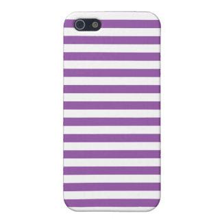 Lila und weißes Streifen-Muster iPhone 5 Hüllen
