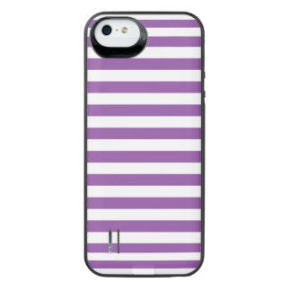 Lila und weißes Streifen-Muster iPhone SE/5/5s Batterie Hülle
