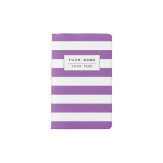Lila und weißes Streifen-Muster Moleskine Taschennotizbuch