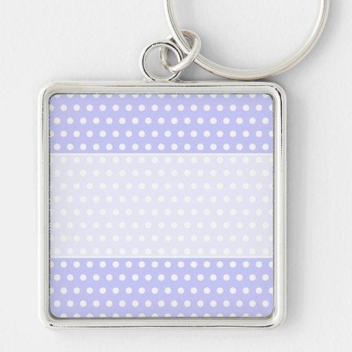 Lila und weißes Tupfen-Muster. Spotty. Silberfarbener Quadratischer Schlüsselanhänger