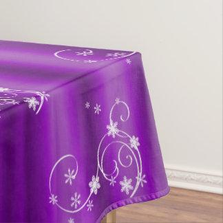 Lila und weißes Wirbels-Weihnachten Tischdecke