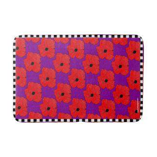 Lila und wirklich roter Mohnblumen-Blumen-Power Badematte