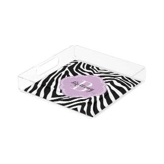 Lila und Zebra-Druck-Gewohnheits-Monogramm Acryl Tablett