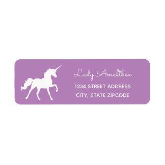 Lila Unicorn-Adressen-Etikett