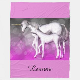 Lila Unicorn-personalisierte Fleece-Decke Fleecedecke