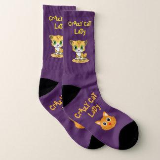 Lila verrückter Katzen-Dame Large Socks Womens US Socken