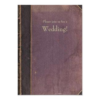 Lila Vintage Buch-Hochzeits-Einladung Karte