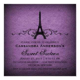 Lila Vintage Franzosen blühen Bonbon 16 einladen Quadratische 13,3 Cm Einladungskarte