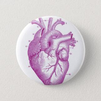 Lila Vintage Herz-Anatomie Runder Button 5,1 Cm
