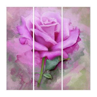 Lila Vintage Rosen-Triptychon-Kunst Triptychon