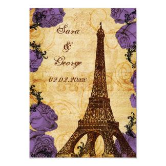 lila Vintager Eiffel-Turm Paris Save the Date Karte