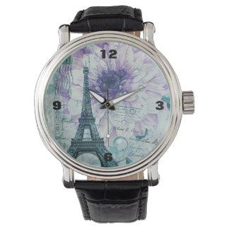 lila Vintager mit Blumenturm Paris Eiffel Armbanduhr