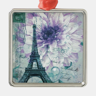 lila Vintager mit Blumenturm Paris Eiffel Quadratisches Silberfarbenes Ornament
