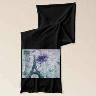 lila Vintager mit Blumenturm Paris Eiffel Schal