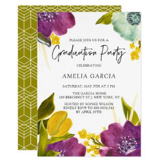 Lila Watercolor-Blumen-Abschluss-Party Karte